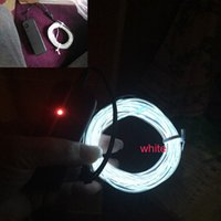 Eelectroluminescent 5mm Diameter White Color 3M Lenth EL fio de alumínio + <b>Dc3v Battery</b> Inverter In Cheapest Price