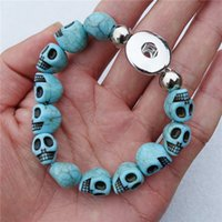 Wholesale Turquoise Skulls Bracelet - 12pcs lot Fashion Women Fake Turquoise Skull Beads Noosa Chunks Metal Ginger 18mm Snap Button Bracelet Jewelry For Men