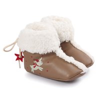 Wholesale Baby Flat Back - Baby Christmas PU Snow Boots Toddlers Deer Stars printting Xmas Snow boots Antiskid soft bottom boots prewalker back lace-up first walker ba