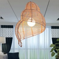 Wholesale Modern Lamps Restaurants - Rattan Escargots Pendant Lamps Modern Pastoral Snail Pendant Lights Fixture Southeast Asian Hotel Restaurant Dining Room Cafes Hanging Lamp