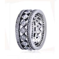anéis vintage pandora venda por atacado-100% 925 sterling silver europeia pandora jóias anel de fascinação do vintage com limpar cubic zirconia moda charme anel