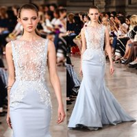Wholesale Georges Hobeika Mermaid Dresses - Georges Hobeika 2017 Sexy Evening Dresses Wear Lace Applique Beads Mermaid Party Gowns Sweep Train Jewel Neck Sleeveless Red Carpet Dress