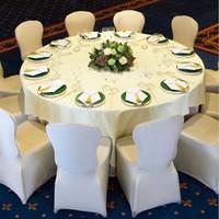 tecido cadeira spandex cobre venda por atacado-150 PCS Trecho Elástico Universal Branco Spandex Cadeira de Casamento Capas para Casamentos Partido Banquete Hotel Lycra Tecido de Poliéster