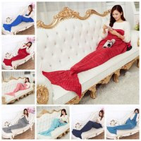 Wholesale Kids Rugs Wholesale - Mermaid Tail Blanket Warm Soft Blankets 140*70cm Knitted Fish Blanket Rug Crochet Sofa Sleeping Bag For Kids And Adults Bedding Wrap OOA2884