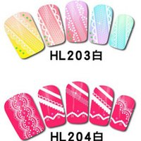 Wholesale Nail 3d Lace Design - Top Quality Metallic Flowers Mixed Designs Nail Tips 3D Nail Art Sticker White Lace