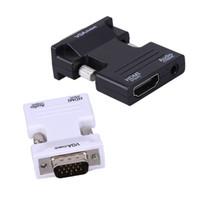 hdmi tv anschluss groihandel-HDMI zu VGA 3.5mm Audio Ausgang Konverter 1080P HDMI-VGA Verbindungsstück Adapter HDMI Teiler mit 45cm Audiokabel für Computer Fernsehapparat