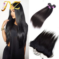 Wholesale Swiss Lace Indian Remy Closure - Lace Frontal Closure With Bundles Brazilian Human Hair Straight 3 Pcs With Ear To Ear 13x4 Swiss Lace Frontal Closure