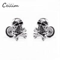 Wholesale Earrings For Men Skulls - 1pcs European popular hip hop jewelry retro skull heads statement stud earrings for young men women personality punk steam rock earrings