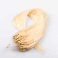 """Wholesale Lightest Natural Blonde - Micro Loop Hair Extensions 16"""" 18"""" 20"""" 22"""" Peruvian Remy Hair Straight Keratin Hair Extensions #60 Lightest Blonde 50g pack 1g strand"""