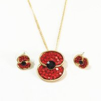 Wholesale Gold Necklaces Uk - Royal British Legion Pendant Necklace Red Crystal Beautiful Poppy Flower Necklace and Earring Sets UK Remebrance Day Gift DHL free shipping