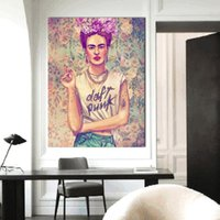 Wholesale picture canvas sizes - large size Frameless Fashion GirlArt Street Canvas Wall Pictures Frida Kahlo Portrait canvas painting bedroom living room decoration