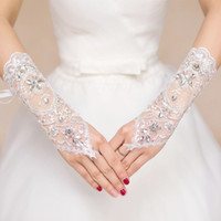Wholesale Korean Fingerless Gloves - 2016 Wedding Lace glove Fingerless new pattern lace Korean Style Beaded White Bridal Gown Romantic gloves