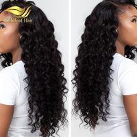 pelucas naturales curl al por mayor-Pelucas del cordón del pelo humano Color natural Barato Frente del cordón Peluca con el pelo del bebé rizo peluca de pelo Cintura natural de encaje completo pelucas para las mujeres negras