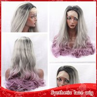 Cosplay Sexy 3 tons Black Grey Purple Body Wavy Wigs With Baby Hair Glueless Brazilian Sintético Lace Wigs for Black Women Resistente ao calor