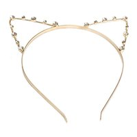 Wholesale Metal Gold Pearl - Cute Cat Ear HeadBand Beaded Hair Band Metal Fashion Pearl Gold Silver For Girls Women Free dropship wholesale