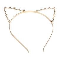 diadema oreja de gato dorada al por mayor-Lindo gato Ear HeadBand con cuentas banda para el pelo metal moda perla oro plata para niñas y mujeres dropship gratis al por mayor