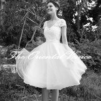 Wholesale Tea Length Open Back Wedding - Vintage White Lace Short Wedding Dress Tea Length Little White Dresses 2016 Vestidos de Novia Beach Bridal Dress Open Back Wedding Gowns