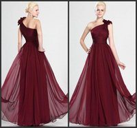 Wholesale Sexy Red Wine - Beautiful Wine Red Long Bridesmaid Dress with Sexy Hand-Made Flowers One Shoulder Floor Length Pick ups Elegant Chiffon Evening Prom Gowns