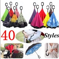 Wholesale Pongee Parasol - 40 Colors Reverse Double Layer Inverted Umbrella C-Handle Windproof Inside Out Self Stand Parasol Folding Rain Umbrellas OOA3103