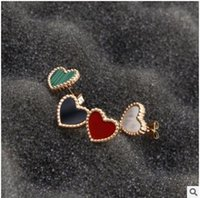 Wholesale 18 K White Gold - 18 k gold titanium steel Sweet hearts love red rose gold stud Unfading stud Long lasting color preserving allergy free stud earrings