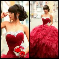 Wholesale Dress Quinceanera Hot Sale - Hot Sale Red Quinceanera Dresses 2017 Ball Gown Beads Organza Sweet 16 Dresses Cheap Quinceanera Gowns Party Gowns