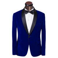 ingrosso i vestiti blu legano l'arco-All'ingrosso-One Button Blue Velvet Smoking dello sposo Groomsmen Abiti da sposa uomo Abito formale (Giacca + Pantaloni + Papillon + Cintura) NO: 014