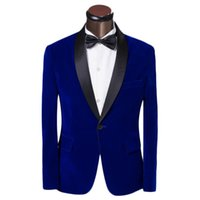 Wholesale Black Dress Pants Men - Wholesale-One Button Blue Velvet Groom Tuxedos Groomsmen Mens Wedding Suits Formal Dress (Jacket+Pants+Bow Tie+Girdle) NO:014
