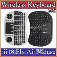 Wholesale multi media keyboards - 10X 2016 Wireless Keyboard rii i8 keyboards Fly Air Mouse Multi-Media Remote Control Touchpad Handheld for TV BOX Android Mini PC B-FS