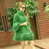 Wholesale Skirt Rabbit Fur - Women's fashion natural rabbit fur stand collar three quarter sleeve loose mongolian fur tassel bottom medium long fur coat casacos XXL