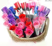 favores de la fiesta de cumpleaños de la flor al por mayor-Flores creativas Favores de la boda Decoración de la fiesta de cumpleaños Regalos del amante, flores artificiales del jabón de Rose sola