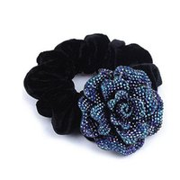 Wholesale Pony Tail Holders Flower - Hot Sales Fashion hair accessories Big Rose Flower Cloth Diy headband Hair Rope Hair Circle for women DHF432