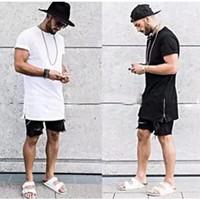 Wholesale Silver Designer Clothes - summer style men silver side zipper t-shirt streetwear style hip hop t shirts fashion clothes designer swag tshirt