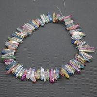 Wholesale Rainbow Crystal Gemstone - Natural Rainbow Titanium AB Crystal Quartz Point Pendants, Raw Healing Gemstone Spikes Top Drilled Briolettes Rock, Women Necklace Jewelry