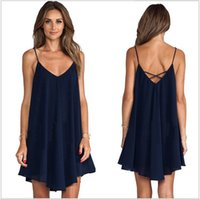 Wholesale white dress shift - Women Summer Spaghetti Strap Dresses V-neck Cross Cami Navy Blue Swing Blackless Dress For Woan Sleeveless Loose Mini Shift Sundress M-XL