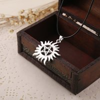 Wholesale Double Rope Necklace - 2016 Movie Jewelry New Fashion Rope Chain Super Natural Supernatural Pendant Necklaces Evil Forces Double Solid Leather Cord For Men Women