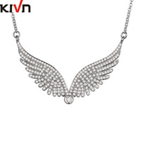 Wholesale Turquoise Necklace For Wedding - KIVN Fashion Jewelry Turquoise Angel Wings Necklaces AAA Cubic Zirconia for Womens Bridal Wedding Birthday Christmas Valentines Gifts
