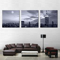 Three-picture Combination painted furniture pictures - 3 Panel Wall Art Painting Nice Night Scene Prints On Canvas City The Picture Decor Oil For Home Modern Decoration Print For Furniture