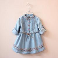 Wholesale good day baby - Good Quality Denim Dress Girls Soft Cotton Denim Dresses Baby Long-sleeve Flower-embroidery Denim Dresses Kids Spring Autumn Dresses