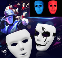 Wholesale street dance costumes - Hot 8 Colors Hip Hop Street Dance Mask Adult Men's Full Face Party Mask Costume Masquerade Ball Plastic Plain Thick Masks IB379