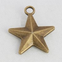 Wholesale antique bronze findings resale online - Antique Bronze Plated D Pentagram Star Charms Alloy Double Sided Star Metal Finding Charms AAC1310