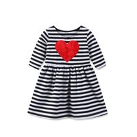 Wholesale Girl Knit Dress Stripe - Everweekend Sweet Baby Girls Stripes Knitted Dress Love Embroidered Valentines Day Holiday Cute Children Spring Fashion Dress
