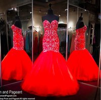 Wholesale rhinestone evening dress sequin resale online - New Elegant Red Major Beading Mermaid Prom Dresses Real Images Sweetheart Crystal Rhinestones Backless Long Arabic Luxury Evening Gowns