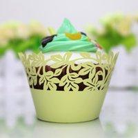 ingrosso scatole decorative gialle-Decorazione di foglie di cupcake giallo limone scatola di forma del ringraziamento compleanno involucro del bigné taglio laser rustico singolo cupcake scatola decorazione del partito