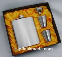 Wholesale oz box set resale online - 7 oz Stainless steel hip flask with stainless steel cups and stainless steel funnel set gift box packing