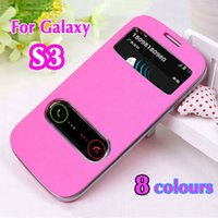 Wholesale S3 Original Flip Case - Battery Housing Sleeve Original View Leather Case Flip Cover Shell Holster For Samsung Galaxy S3 I9300   S3 Neo I9300i   S3 Duos