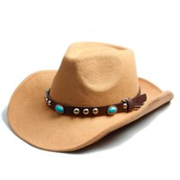 Wholesale Khaki Fedora Hat - Wholesale-Men Women Fashion Felt Fedora Hat Western Cowboy Cowgirl Cap Jazz hat Sun Hat Toca Sombrero Cap with Fahion DIY leather band 10