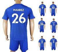 Wholesale wholesale white uniform shirts - 17-18 Customized home Blue 26 MAHREZ Soccer Jerseys shirts Sets With Shorts,9 VARDY 28 FUCHS 29 BENALOUANE men Training Soccer Wear Uniforms