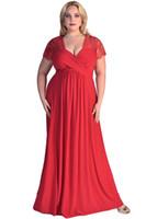 Wholesale Large Maxi Dress - 2016 Summer Large Size Clothing Women Plus Size Maxi Long Dress Lace Sleeve Formal Gown Evening Party Dress XXL XXXL Vestido De Festa E61025