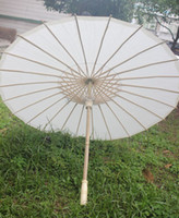 Wholesale White Bamboo Parasols - (30 pcs lot) New Eco-friendly Bamboo With Paper White Color Long-handle Bridal Wedding Umbrellas free Shipping
