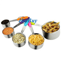 Wholesale Liquid Measuring Cups - 5 PCS Solid Stainless Steel Stackable Measuring Cups Set to Measure Dry and Liquid Ingredients for Kitchen Cooking Baking #3991